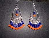 Florida gator orange and blue chandelier earrings. orange and blue crystals. Accessories for any occasion. jewelry sale.