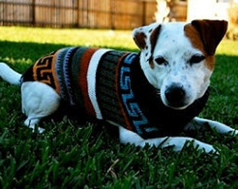 """Craft-style """"Allpa"""" dog sweater inspired by Inca pottery designs"""