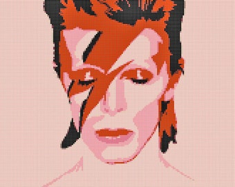 The Rise and Fall of Ziggy Stardust David Bowie Cross-Stitch Pattern