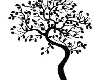 Handmade Tree Silhouette PDF Cross-Stitch Pattern