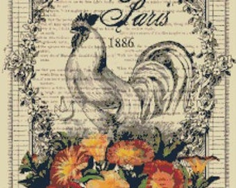 French Country Rooster and Flowers Ephemera Cross-Stitch Pattern