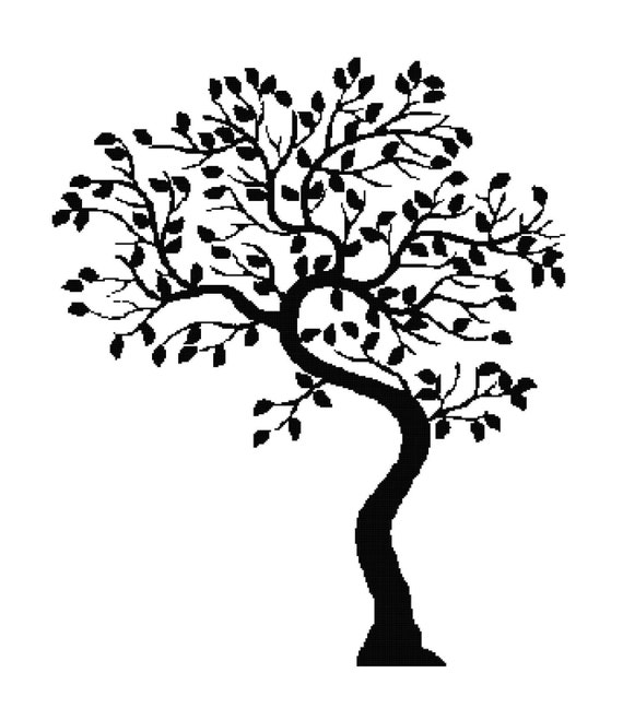 Handmade tree silhouette pdf cross stitch pattern - Malvorlage stammbaum ...