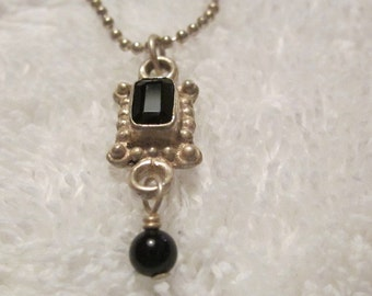 Vintage Sterling Silver Necklace with Pendant with Black Stones