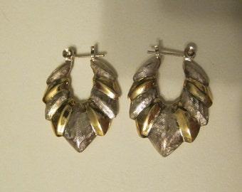 Vintage Sterling Silver Pierced Dangle Earrings in  Silver and Goldtone