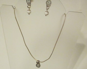 Vintage Sterling Silver Necklace and Pierced Earring set
