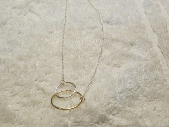 """Vintage Sterling SIlver Double Circle on 20"""" Chain"""