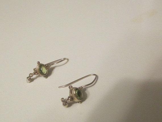 VIntage Sterling Silver Dangle Pierced Earrings With Peridot