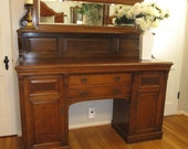 Mission style sideboard buffet with mirror