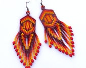 Seed bead  earrings - Native American style, boho style, dangle long, fire, orange,red, yellow, ruby