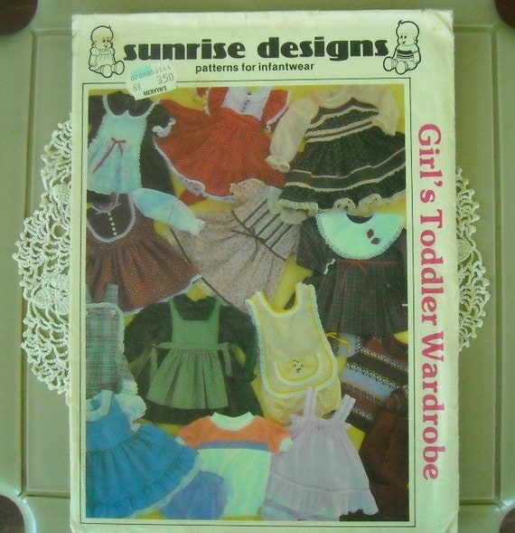 Reserved for Sandy    Vintage 1981 Sunrise Designs Sewing Pattern Girls Toddler Wardrobe Dresses Jumpsuit Pants Panties Shorts Shirts  UNCUT
