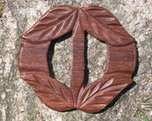 Awesome Vintage 1940's Wood Belt Buckle with Carved Leaves