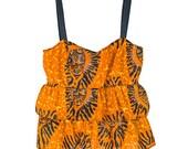 Sahara - African Print Orange Black Vegan Leather Strap Tiered Ruffle Tank Top With Tied Back