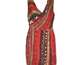 Ria - African Print Red Cowl Neck Dress
