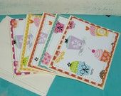 birthday cards - collection of 5 sweet cupcake birthday cards, thank you's or invitations