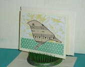 blank note card - sweet summer bird - made from vintage piano music