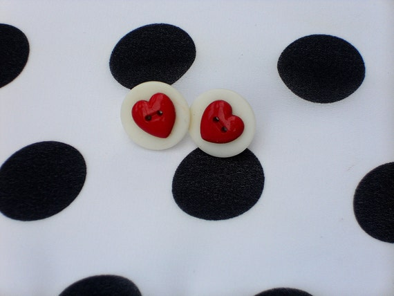 """Red Heart/White Button Earrings 7/8"""""""