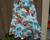 FREE SHIPPING Full Apron with Ruffle & Pocket Hawaiian