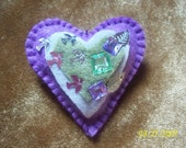 Lavender heart pin with sequin bird and leaf detail