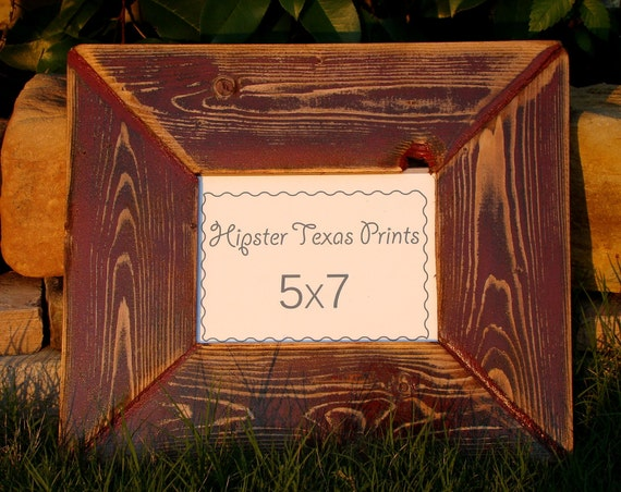Rustic Home Decor - 5x7 Wood Photo Frame - Western, Red, Black, Handmade