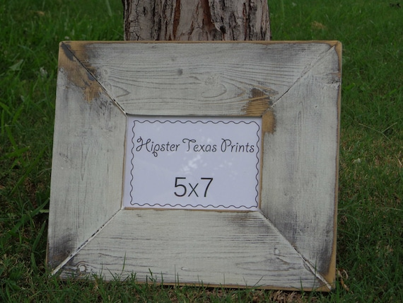Rustic Home Decor - 5x7 Wood Photo Frame - Western, White, Black, Handmade