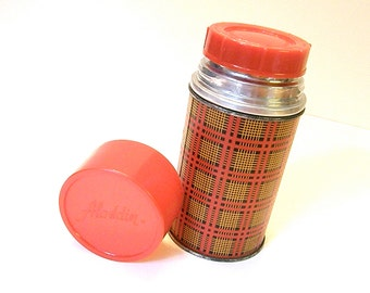 Aladdin Best Buy Thermos Bottle, Mad Men, Picnic, Lunch, Retro, Plaid