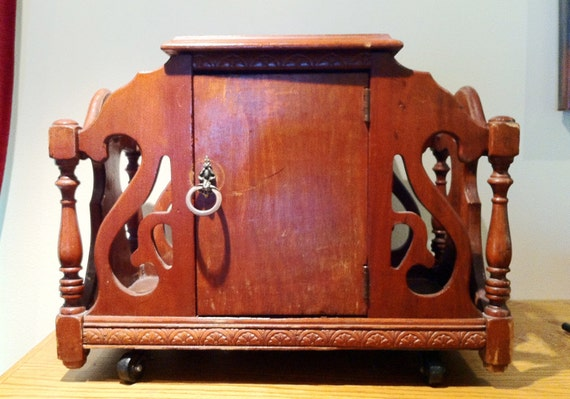 RESERVED for Andrea- Vintage Art Nouveau Humidor Magazine Rack Copper Lined Caster Wheels