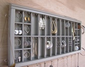 Silvery Grey Printers Drawer Jewelry Display Earring Holder