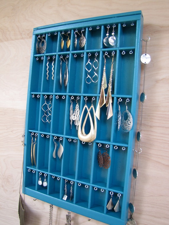 Deep Turquoise Printers Drawer Jewelry Holder Earring Display