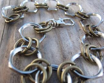 mens hex nut bracelet- hardware bracelet- oxidized brass and hex nuts- handmade by RockinLola