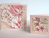 Mini Cards Set of 12 Four 3x3 and Eight 2x2 Floral Pattern Vintage Style