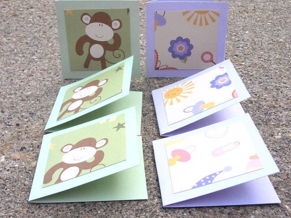 Mini Cards Baby or Child Themed for Girl and Boy Set of Six Monkey and Flowers