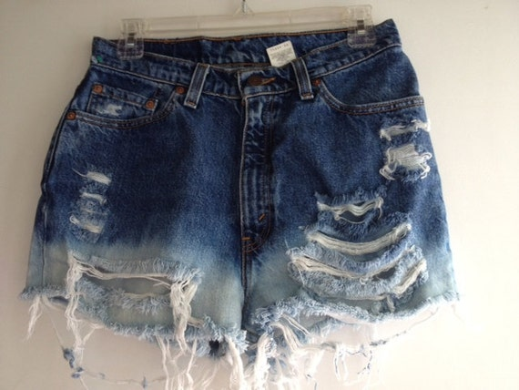 Bleached High Waisted Denim Shorts