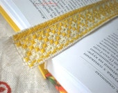 Bookmark hand embroidery ukrainian stitches yellow colour variation sun shining