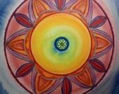Bright Light  Mandala -  Original  mandala Painting - Healing Mandala - Feng Shui Art