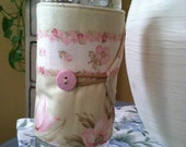 Bottle/Can Cozy (Water/Soda/Beer)  - Pale Green/Cream w/Pink Floral
