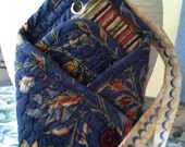 LOTUS POUCH (For ALL of your purse necessities) - Blue Floral