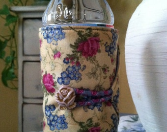 Bottle/Can Cozy (Water/Soda/Beer)  - Pale Yellow/Blue Floral w/Pink Roses