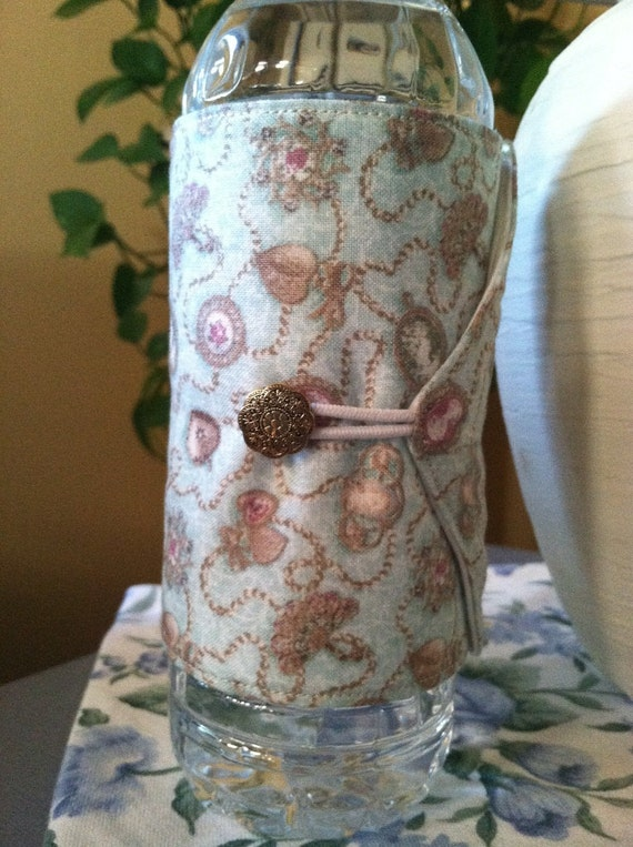 Bottle/Can Cozy (Water/Soda/Beer)  - Pale Aqua Cameo & Jewels (Victorian/Vintage Reproduction)