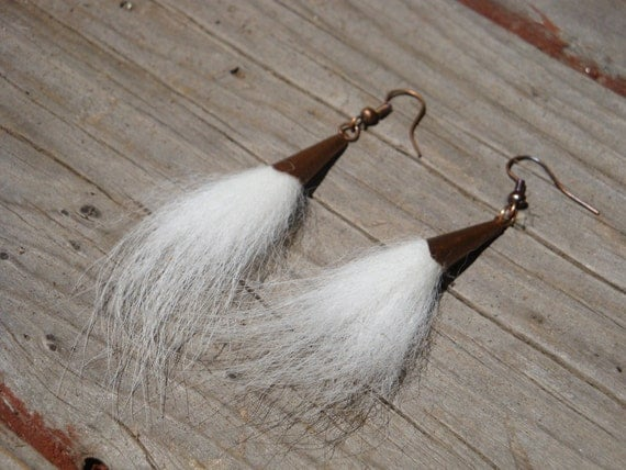 SALE Arctic Fox Fur Earrings Free Shipping 3 DOLLARS OFF