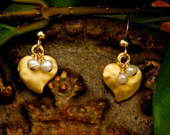 Small Gold Heart Earrings with Pearls- Delicate and Dainty