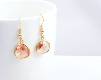 Light Peach Gold Earrings, Gold plated Earhook, Light Peach Color Glass and Gold Framed Earrings, Light Peach  Earrings -  for everyday use