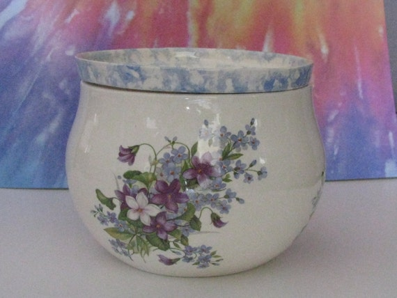 Large white with blue accent milti colored violets African Violet planter