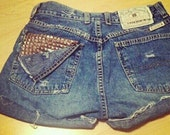 cute high waisted distressed shorts with full back pocket studded