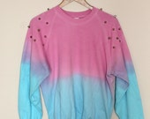 Dip dye sweater jumper with studded shoulders