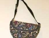 Vintage floral carpet bum bag customised with studs