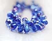 8pcs Cornflower Cobalt Blue Glass Teardrops Briolettes, Dark Blue Teardrop Beads with Purple AB Coating Top Drilled 12x8mm