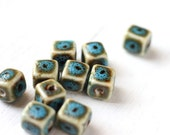10pcs Teal Blue Turquoise Colored Ceramic Cubes, Square Center Drilled Beads 8x8mm