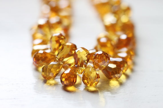 8pcs Citrine Golden Yellow Colored Chinese Glass Briolettes, Clear Teardrop Beads Top Drilled 12x8mm