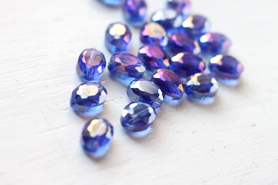 8pcs Cornflower Cobalt Blue Faceted Chinese Glass, Dark Blue Beads Center Drilled Elongated Coin Shape with AB Coating 12x9mm