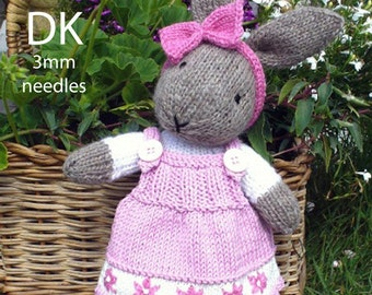 bunny rabbit with dress PDF email knitting pattern